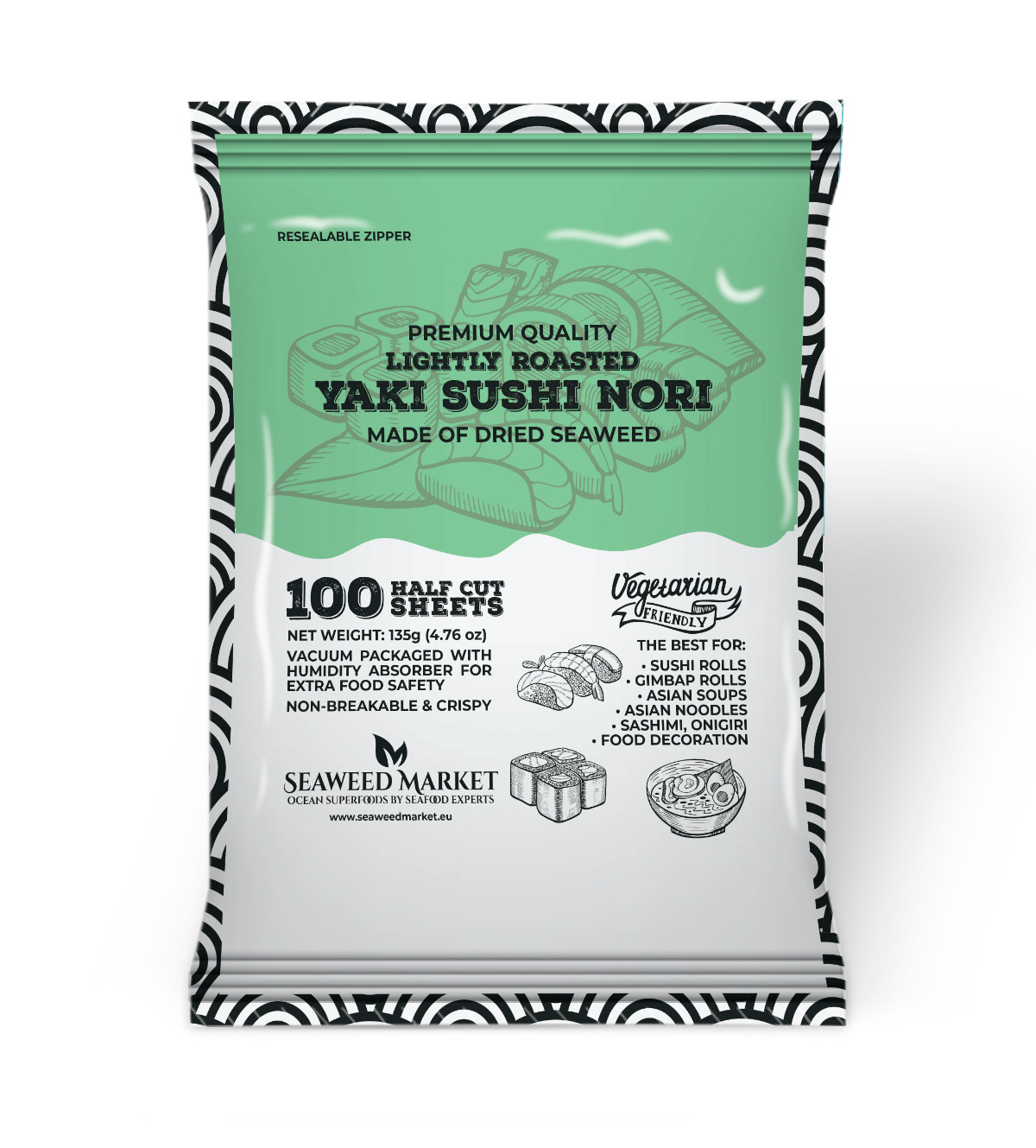 100 Half Sheets Nori Seaweed Market - European supplier