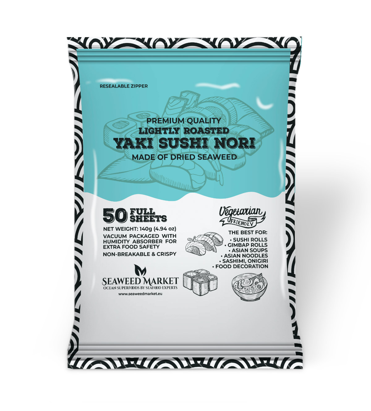 50 Full Sheets Nori Seaweed Market - European supplier