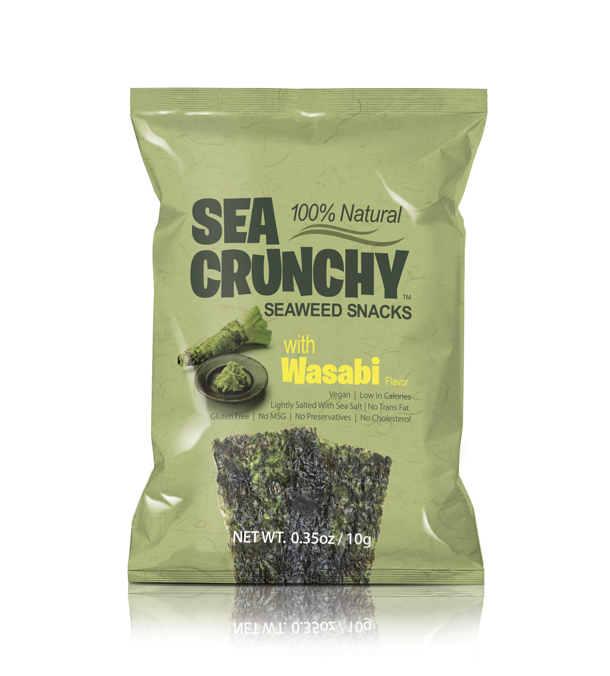 SEA CRUNCHY Seaweed Snacks with wasabi root image.